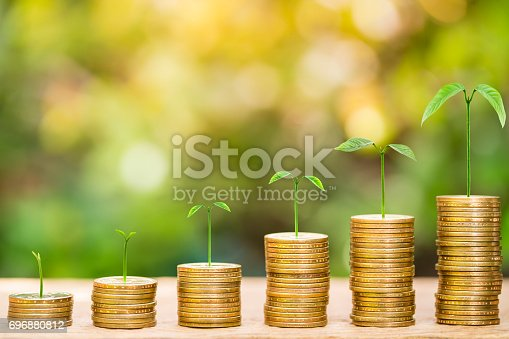 istock Tree growing on one dollar coins arranged as a graph on wood table with natural bokeh background 696880812