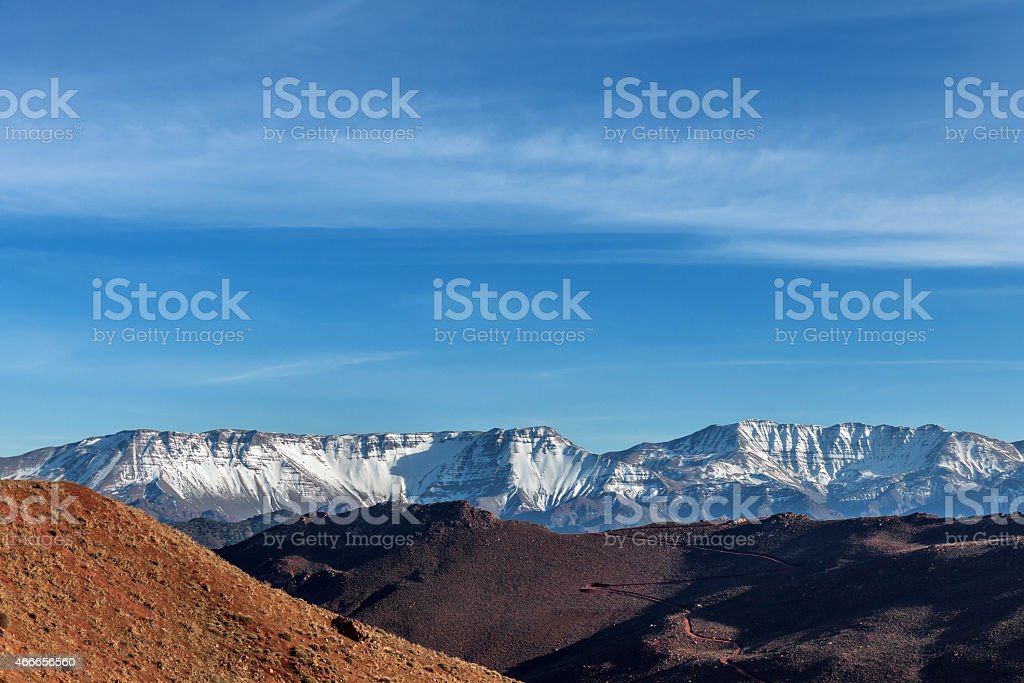 Tree, Hill High Atlas mountains, Morocco, Notrh Africa stock photo