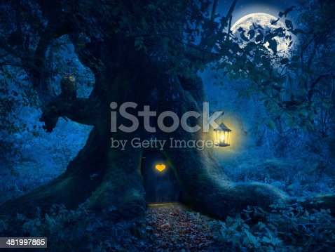 Magical night with a little home in the trunk of an ancient tree in the enchanted forest.