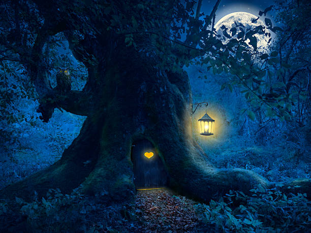 Tree home in the magic forest stock photo