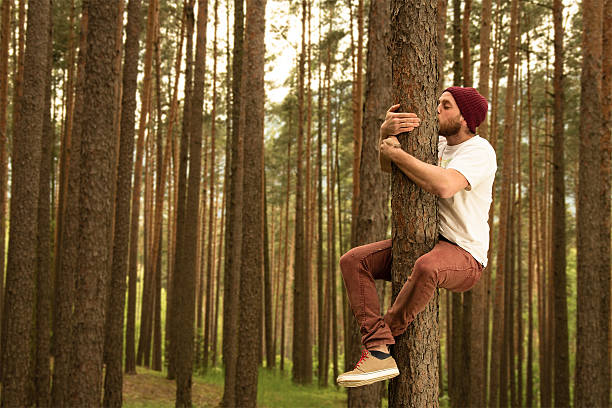 Tree Hugger Hugging trees because they do so much for us tree hugging stock pictures, royalty-free photos & images