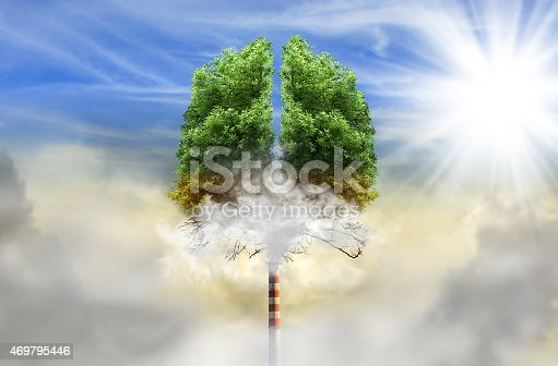 istock Tree in a shape of lungs with chimney instead of trunk 469795446
