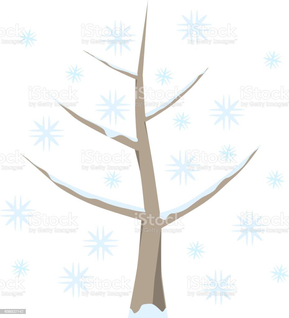 Baum im Winter mit Schnee stock photo