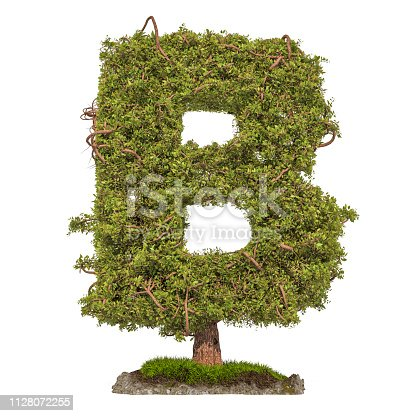 istock Tree letter B. Tree in shaped of letter B, 3D rendering isolated on white background 1128072255