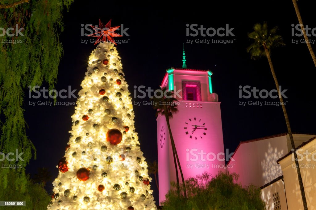 Tree lighting at Los Angeles Union Station in the South Patio...