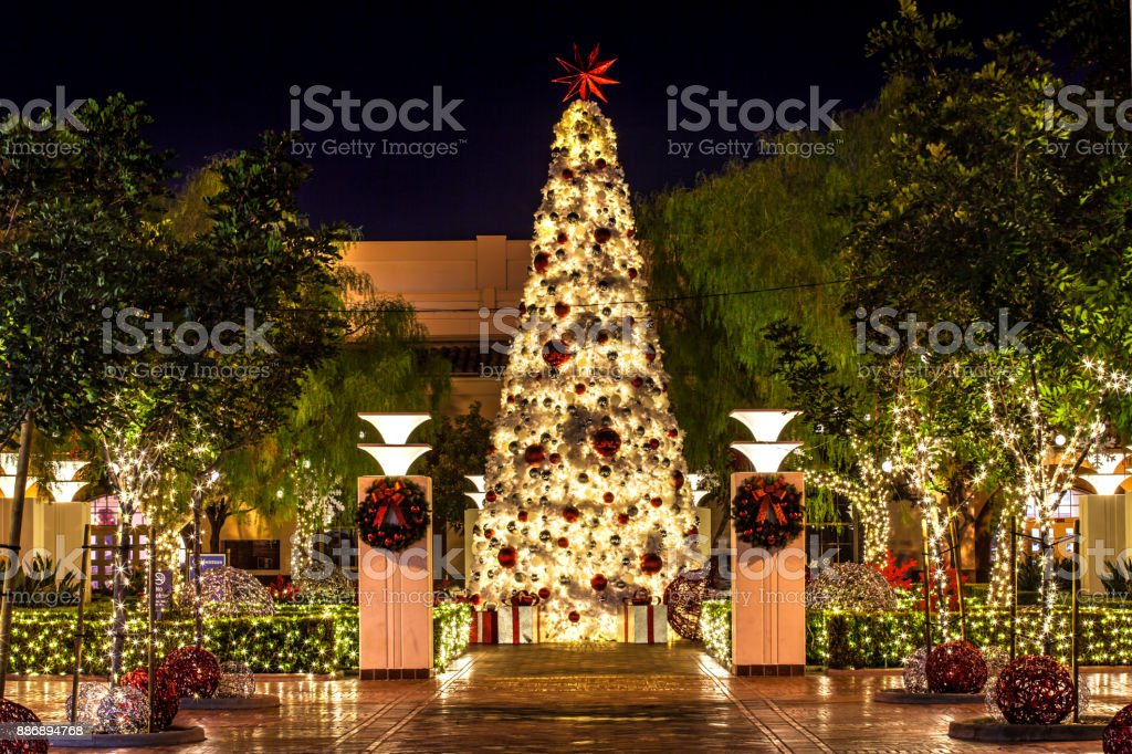 Tree Lighting - Union Station Los Angeles - South Patio - Holiday Decorations stock photo