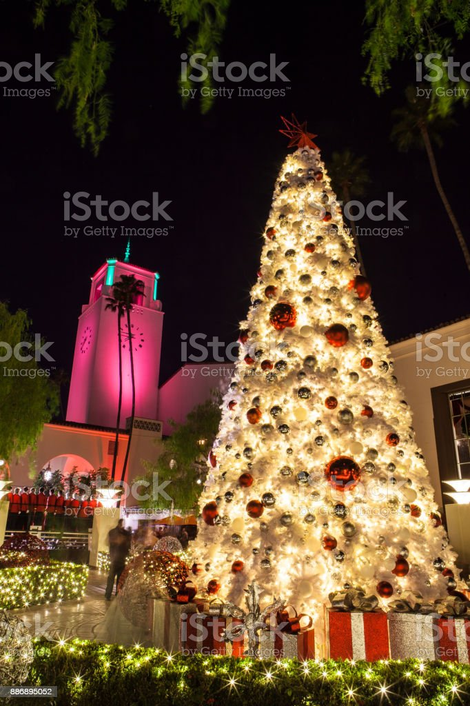 tree lighting union station los angeles south patio holiday decorations royalty free