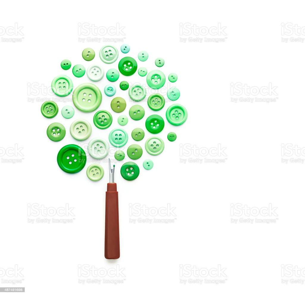 Tree Made of Sewing Buttons and Ripper stock photo
