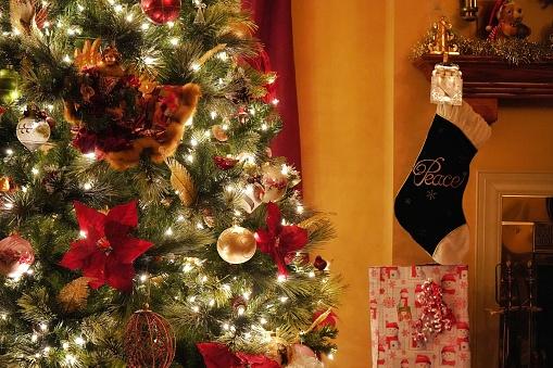 Medium close-up of Christmas tree