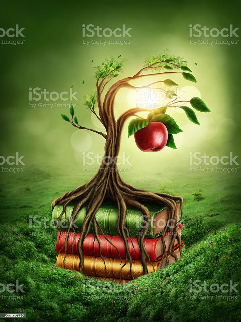 Tree of knowledge and forbidden fruit stock photo
