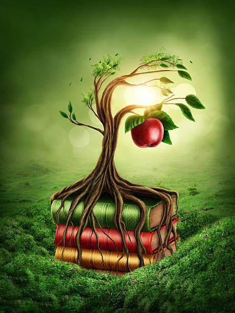árvore do conhecimento e proibido de frutas - jardim do eden - fotografias e filmes do acervo