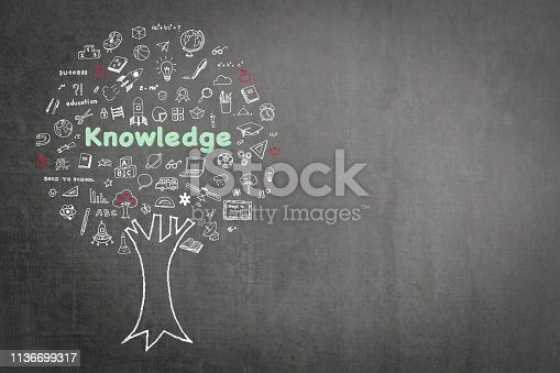 977488078 istock photo Tree of knowledge education concept on black chalkboard background with doodle 1136699317