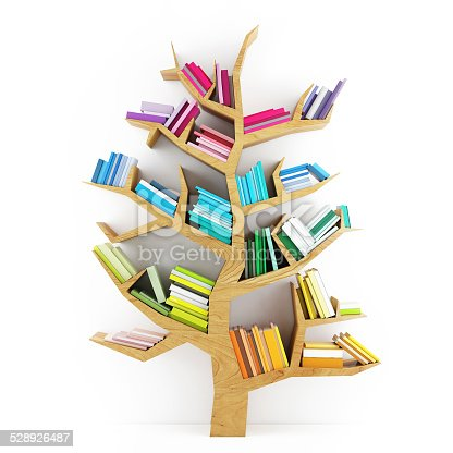 istock Tree of Knowledge, Wooden Shelf with Multicolor Books 528926487