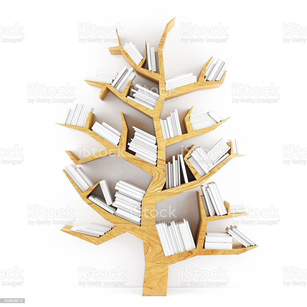 Tree Of Knowledge Wooden Shelf With White Books Royalty Free Stock Photo