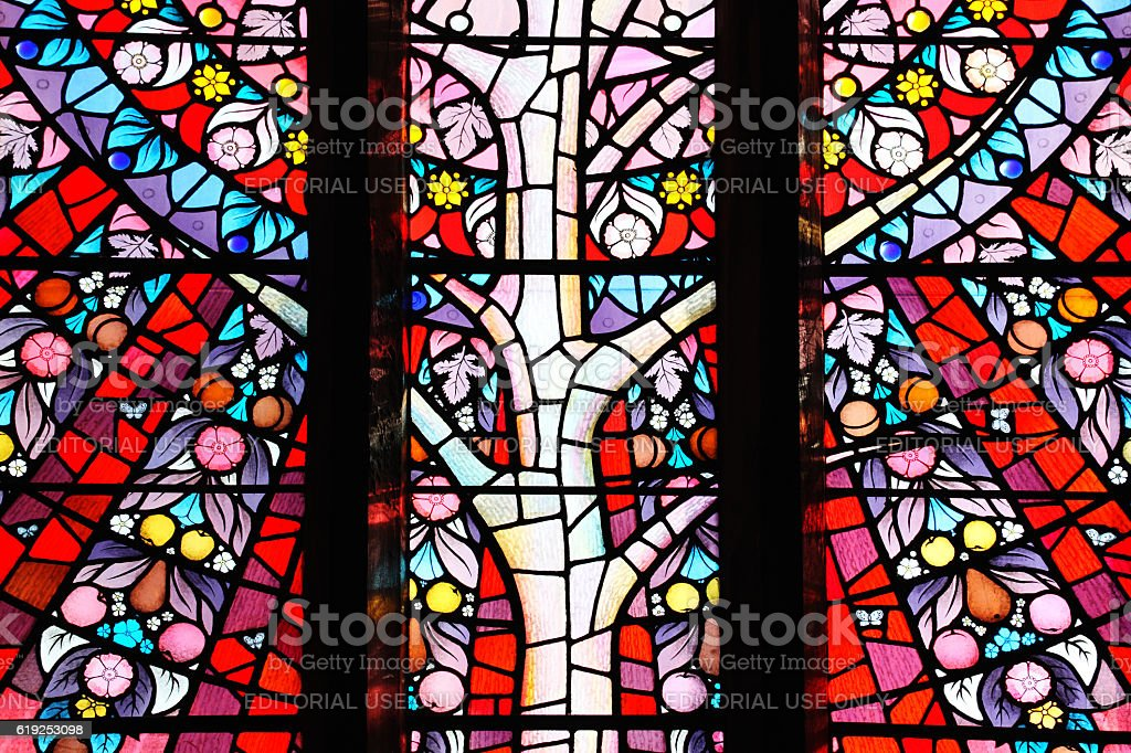 Tree of Life stained glass window stock photo