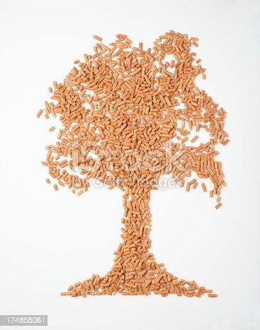 istock Tree of wood pellets 174858061