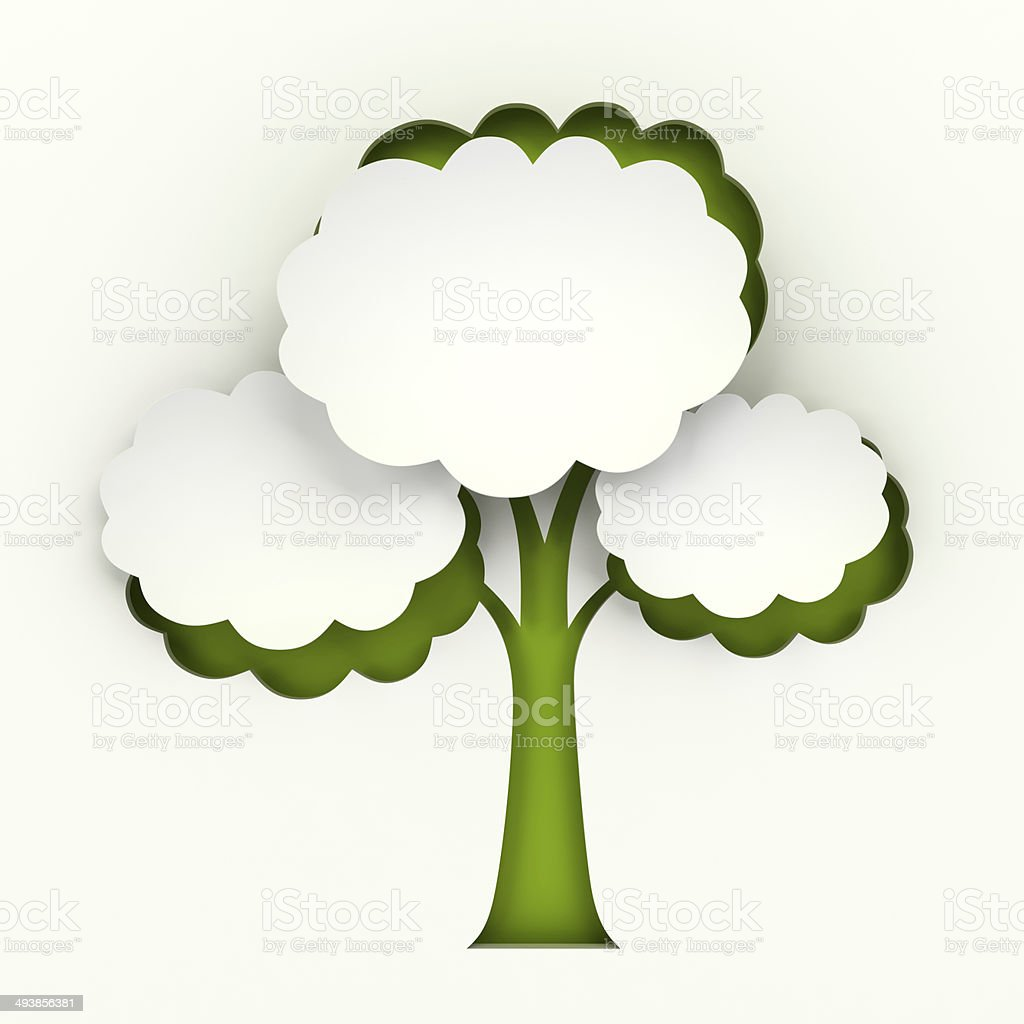 Tree paper cutout infographic with copyspace royalty-free stock photo