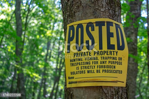 Posted private property warning sign no trespassing