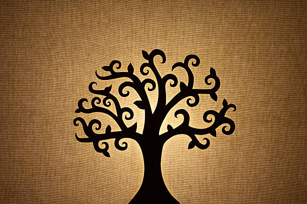 tree silhouette - family trees stock photos and pictures