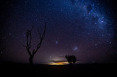 The milky way extends into the sky as seen from a location in the southern hemisphere