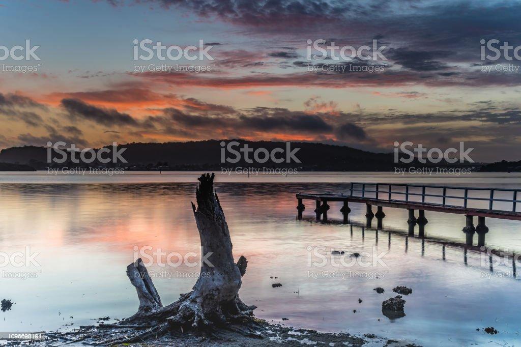 Tree Stump and Wharf Sunrise Waterscape stock photo