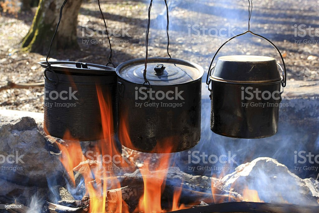 Tree tourists kettle on fire royalty-free stock photo