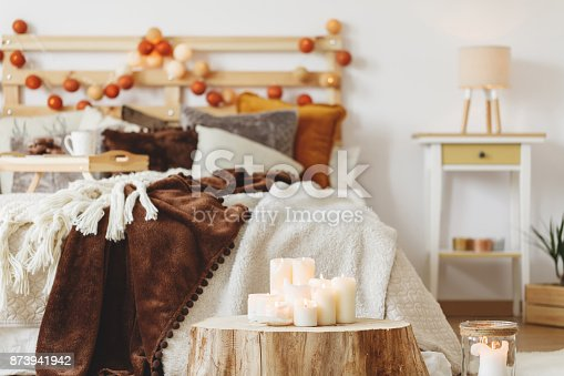 istock Tree trunk in the room 873941942
