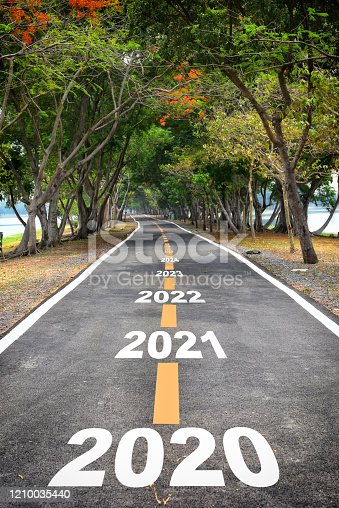 1081330336 istock photo Tree tunnel with 2020 to 2026 on asphalt road surface 1210035440
