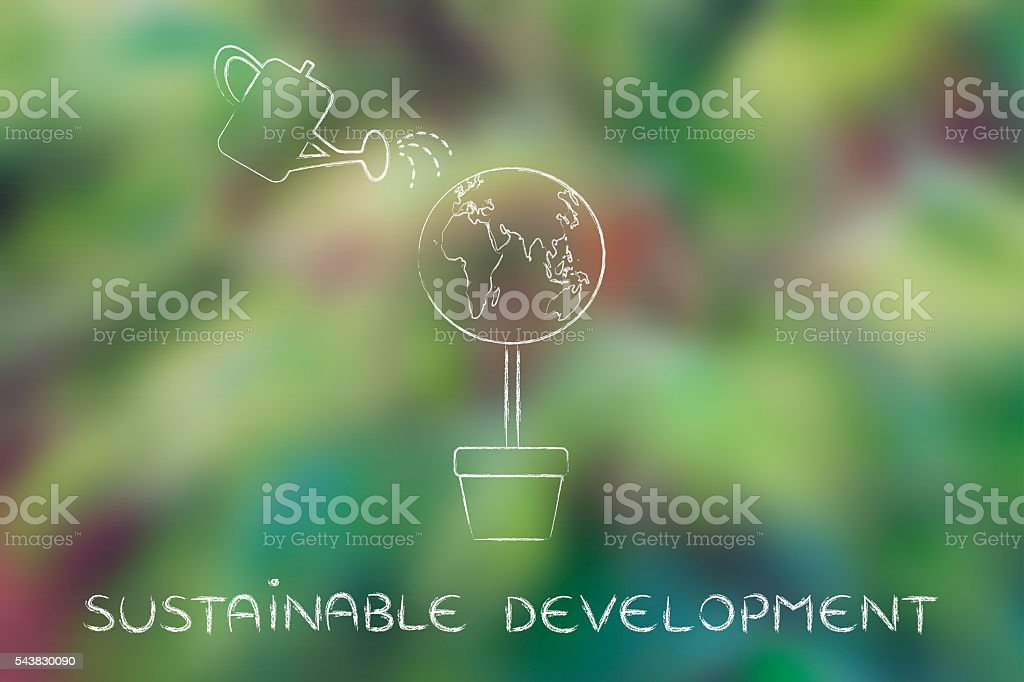 tree with world globe and watering can, sustainable development stock photo