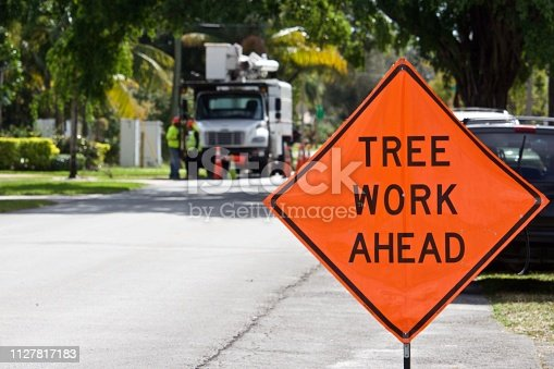 Orange information sign with black letters displayed in front of tree maintenance workers and truck. Truck and workers intentionally blurred in background