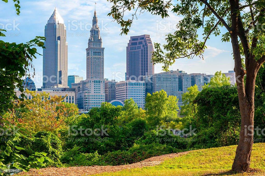 Tree-framed Cleveland stock photo