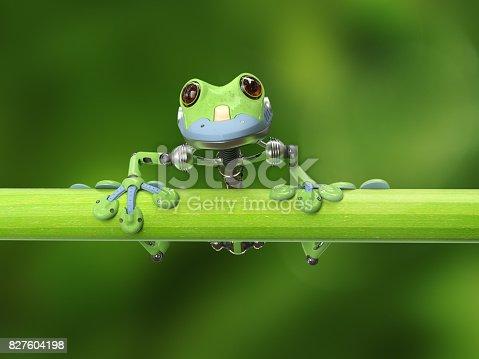 3D render of a robot treefrog