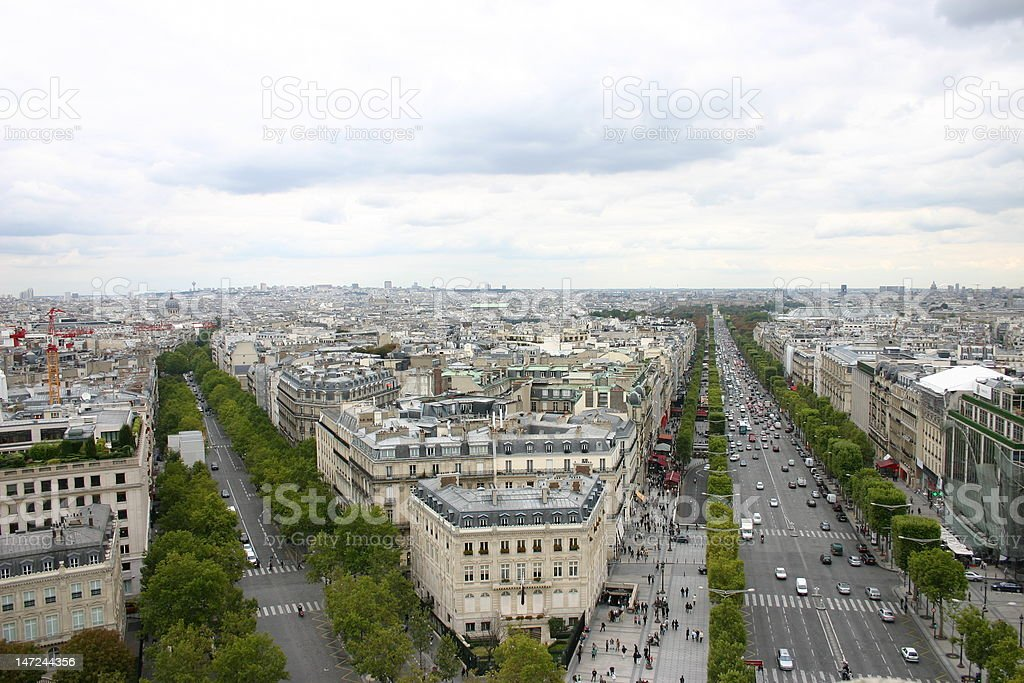 Tree-Lined Streets of Paris from the Arc de Triomphe royalty-free stock photo