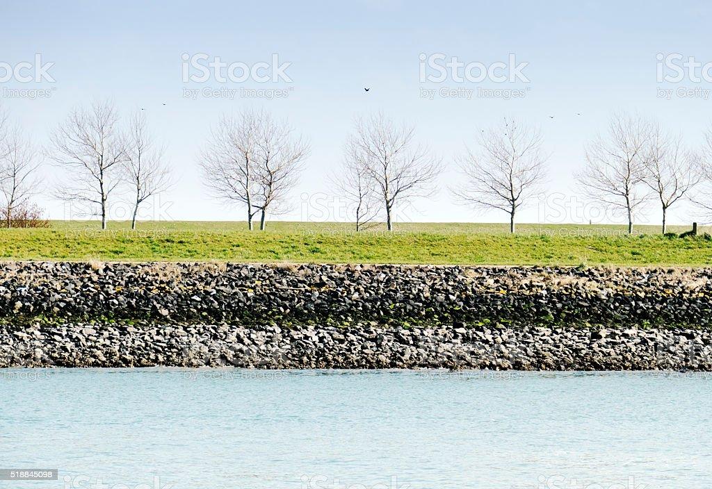 Trees along the canal , Wemeldinge,Zeeland,Netherlands stock photo