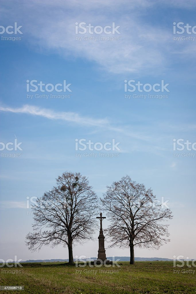 trees and cross stock photo