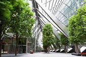 walkway in office park,