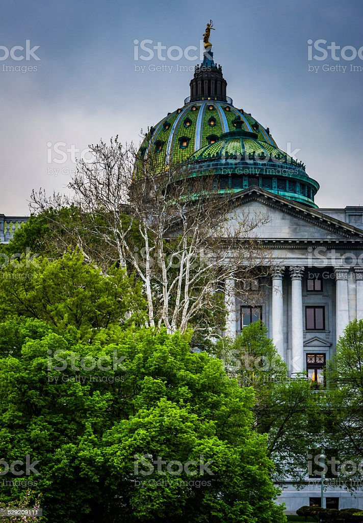 Trees and the State Capitol Building in Harrisburg, Pennsylvania stock photo