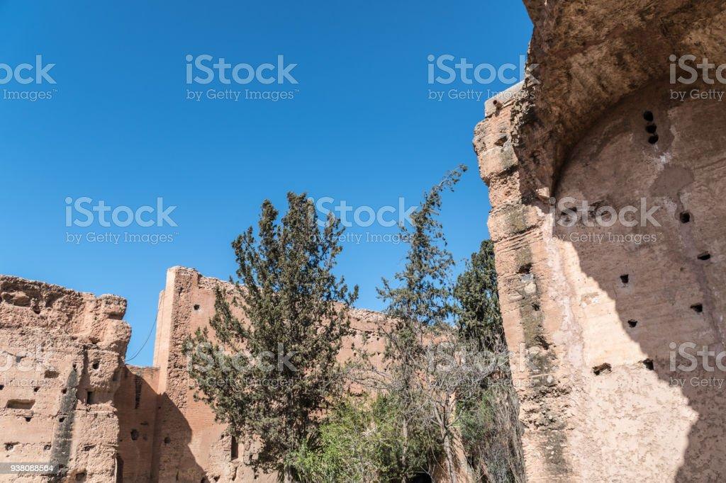 Trees grow in 16th Century El Badi in Marrakesh stock photo