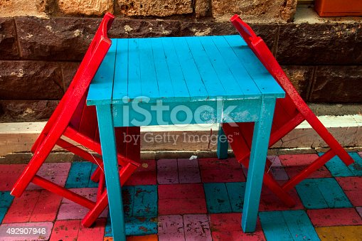 istock Trees , hours of work , culture, decorated, Stool, wood , colorful , table 492907946