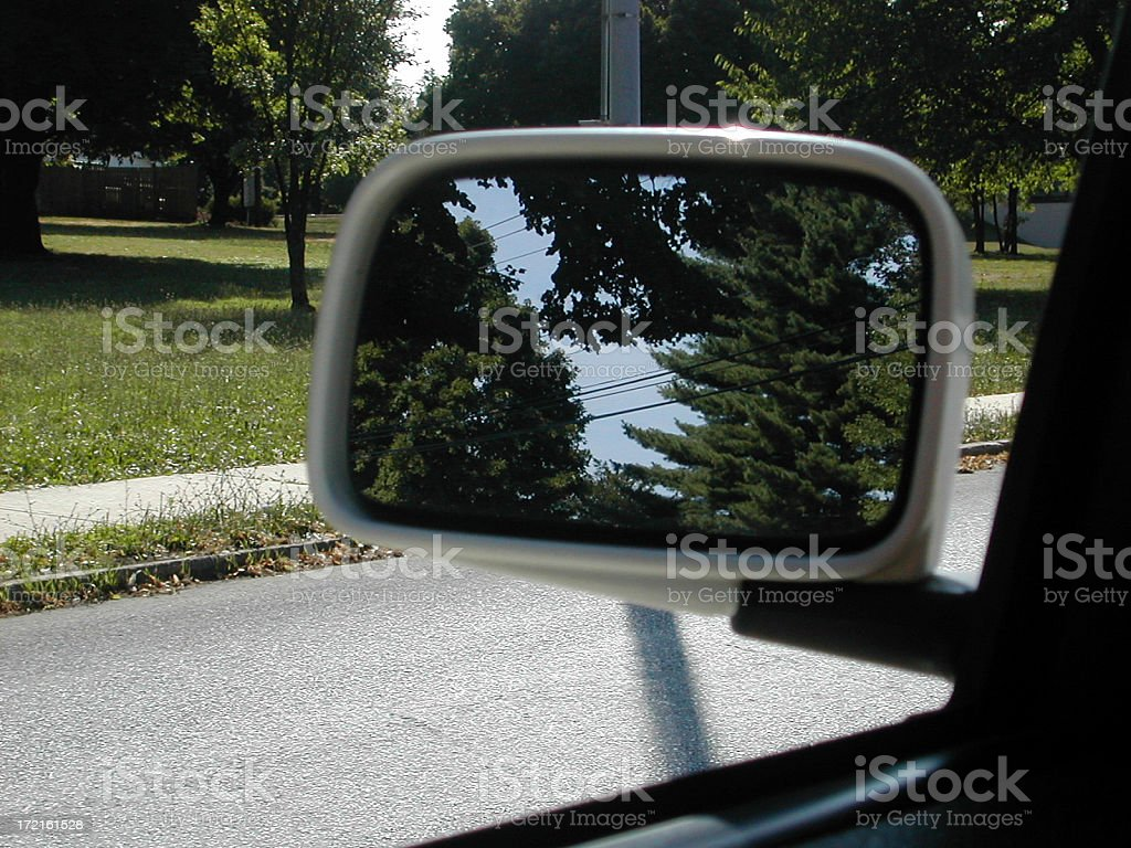 trees in side view mirror 001 royalty-free stock photo