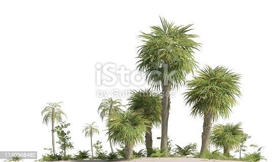 3D illustration trees of the mesozoic era isolated on white background