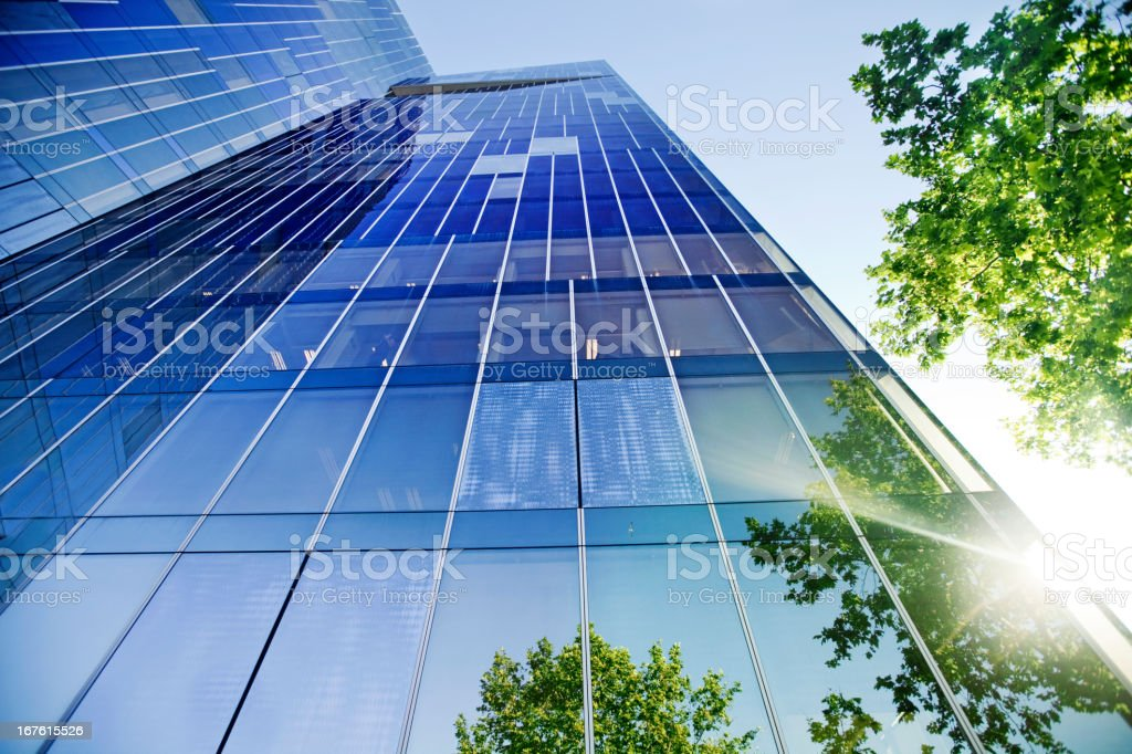 Trees reflected on building royalty-free stock photo