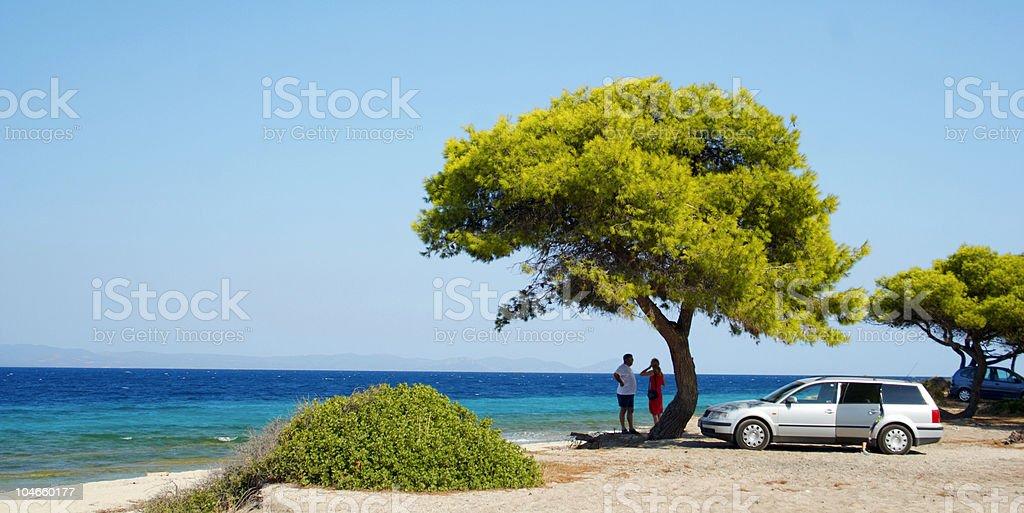 Bäume. Meer. Auto. Familie. Himmel. Baum. Meer. Griechenland. Halbinsel. – Foto