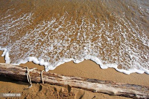 flotsam and jetsam, rope pollution littering the beach  of Corfu, Greece