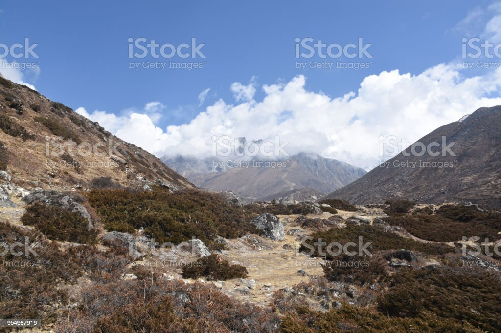 EBC Trek between Pangboche and Dingboche, Nepal stock photo