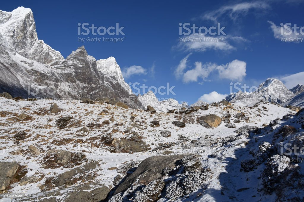 EBC Trek close to Dingboche after snowfall, Nepal stock photo