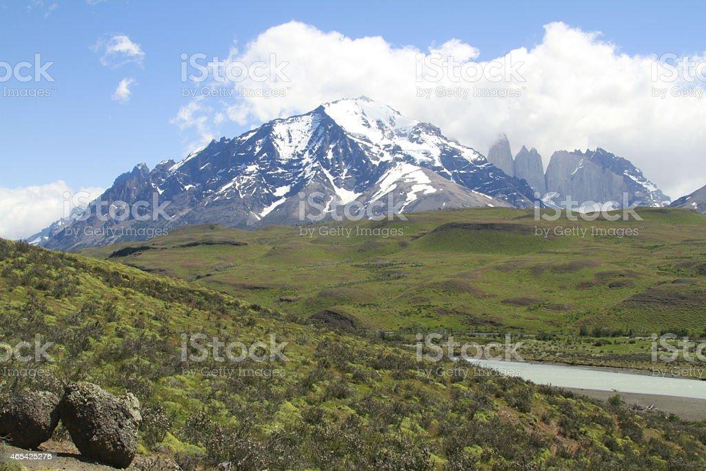 W Trek on Torres Del Paine Park stock photo