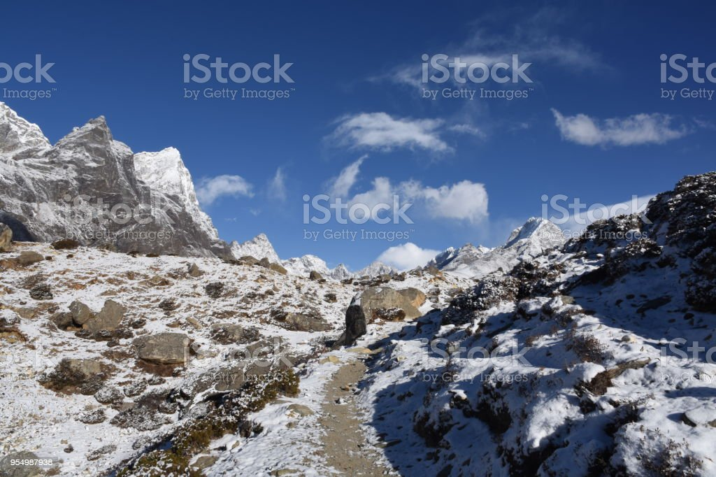 EBC Trek to Dingboche in the Himalayas, Nepal stock photo
