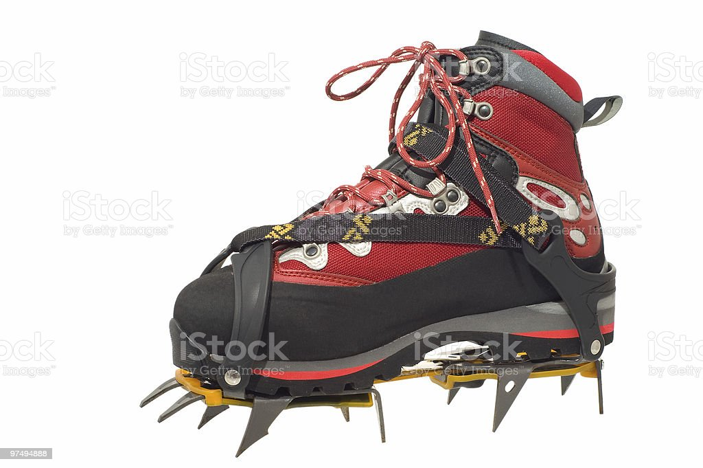 Treking boot with the crampons royalty-free stock photo