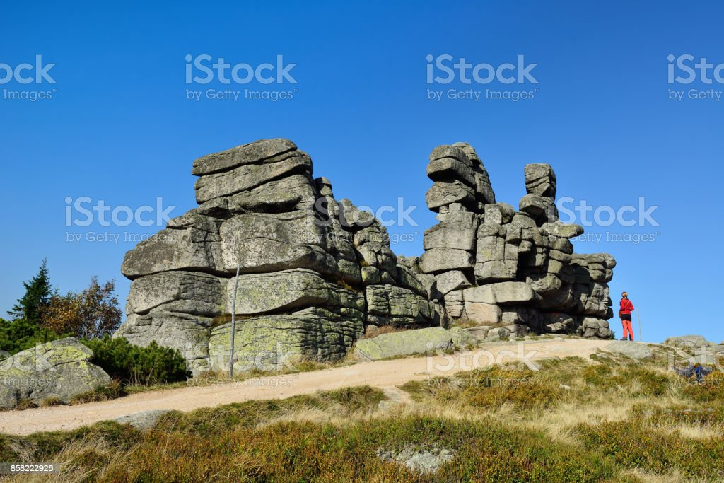 Treking in the Karkonosze Mountain national park with the backpack in Poland stock photo